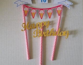 Ice Cream Cake Topper, Custom made 2 pieces
