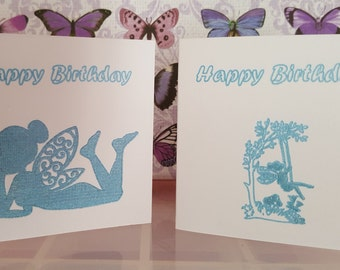 Set of 2 handmade fairy silhouette cards