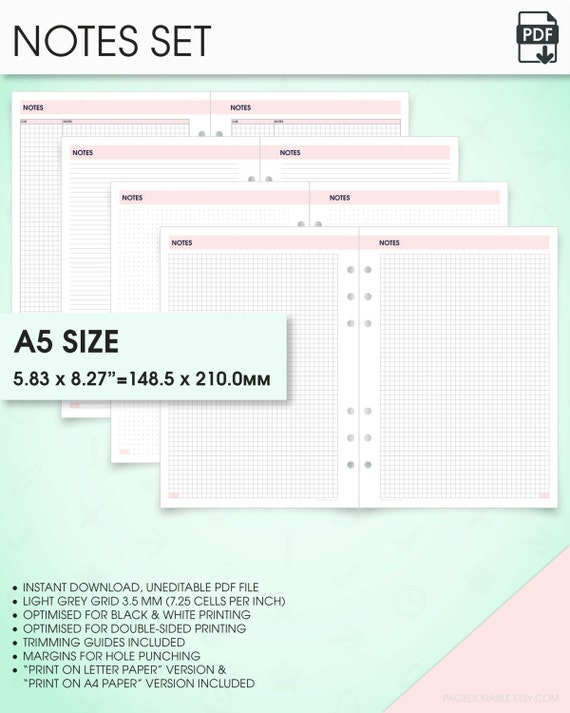 Notes Planner Kit A5 Inserts Printable (grid Notes Paper Printable, Dot  Grid Notebook, Lined Paper, Printable Graph Paper, Cornell Notes)  Printing On Lined Paper