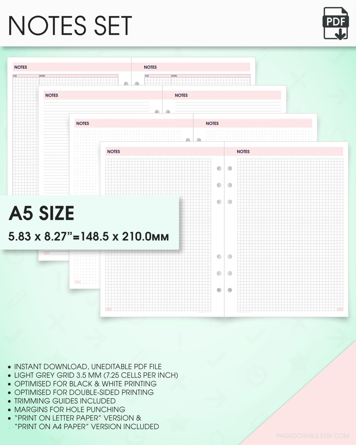 Notes planner kit a5 inserts printable grid notes paper – Print College Ruled Paper
