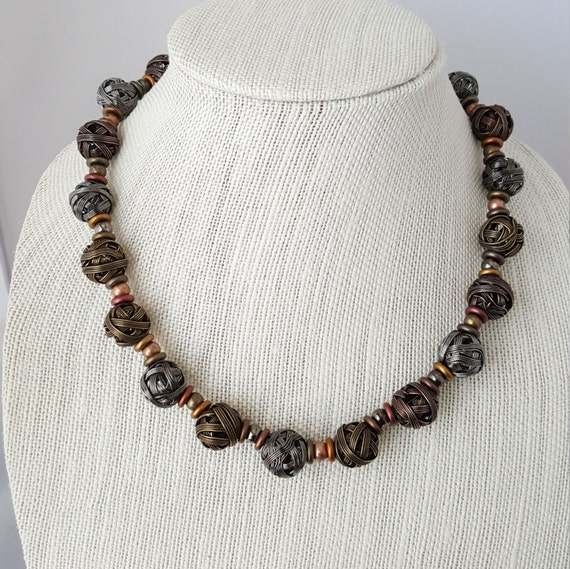 Copper brass and steel wire beaded necklace