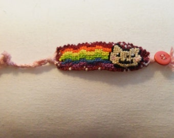 Nyan Space Internet Rainbow Cat Handmade Button Loop Friendship Bracelet