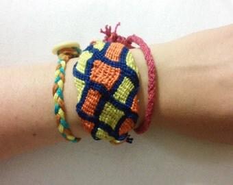 Tri-Color Snake Grid Adjustable Friendship Bracelet