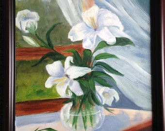 Lilies in Open Window