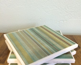 Blue green stripe tile coasters