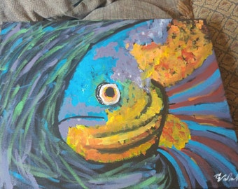 Abstract fish acrylic painting on canvas