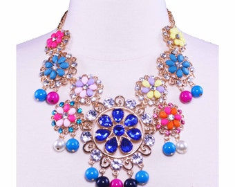 Gold Fashion Rhinestone Jewelry Statement Necklace for Women
