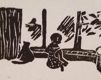 """Wood Cut Print """"Waiting"""" Hand Carved - one of a kind - Unique Print"""