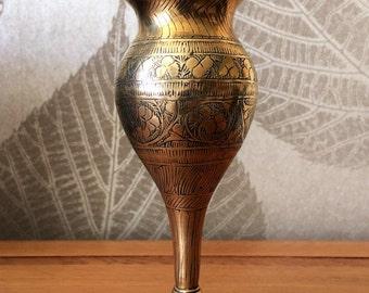 Indian Brass, Engraved brass ,heavy vase