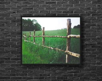 Fence Photo - Pasture Photo - Green - Rural Photo - Fields Photography - Nature Photography - Nature Wall Decor - Farmhouse Wall Decor