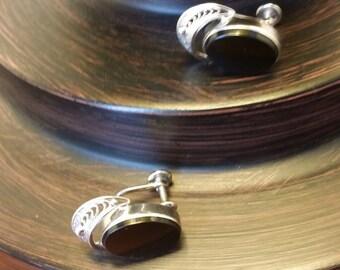 Vintage Onyx Sterling Silver Clip-On Earrings