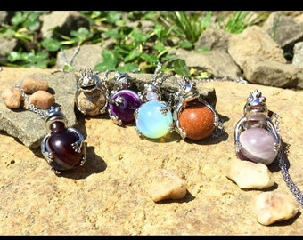 Natural Gemstone Crystal Agate Silver Frog Wrap Ball Healing Pendant Necklace OR Key Chain with Silver Chain