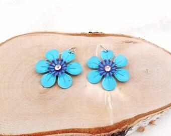 Daisy Earrings, Vintage Earrings, Blue & Purple Flower Earrings, Gifts for Her, Blue Flower Earrings