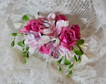 Hair comb with silk flowers. Orchids, roses, freesia