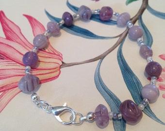 Purple Semi-Precious Beaded Bracelet - 21cm