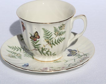 Gracie China Company Tea Cup and Saucer featuring   Butterflies, ferns and floral design   Bridal Shower Favor  Nature Tea Cup  Teacup