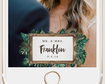 Instant Snap Filter | Frame and Palms Watercolor Mr & Mrs Wedding Custom Snapchat Geofilter