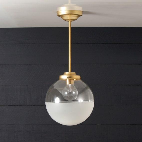 Brass Smoked Glass Light Fitting