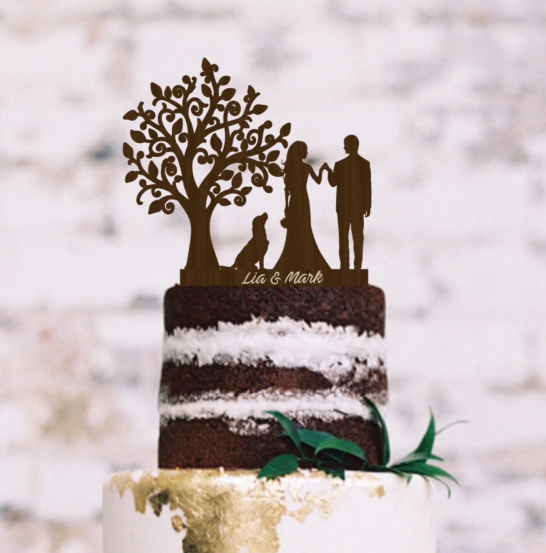 Wedding Cake Topper Bride Groom Silhouette Dog Cake Topper