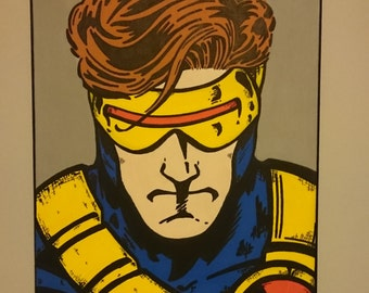 "Marvel CYCLOPS. original hand drawn and painted canvas. 16""X12"""