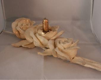 Three rose candle holder centerpiece