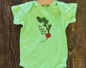 The Beet Goes On // Baby Bodysuit (Lime Green, 12 mo)