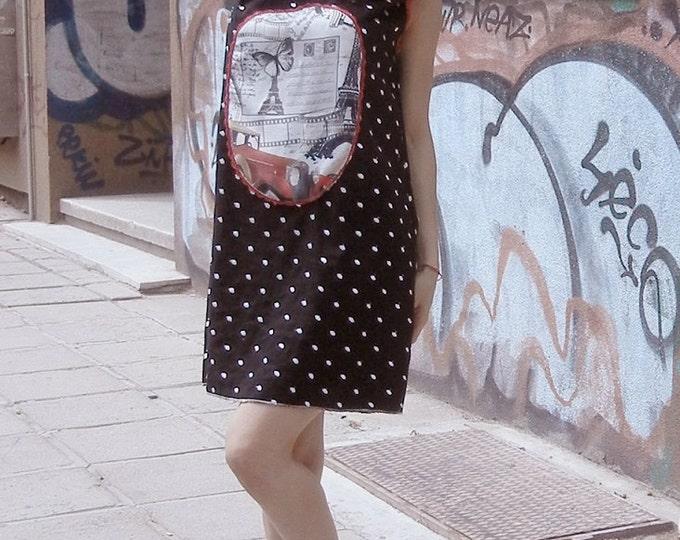 Small Black Linen Dress / Dots linen dress / Retro Elegant Dress