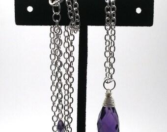 Silver plated necklace with briolette pendant. Purple briolette