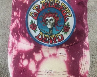 Grateful Dead Dad Cap- Maroon Bleached and Distressed