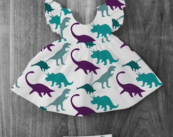 Dinosaur Pinafore Dress Outfit with matching Bloomer Diaper Cover and Bow