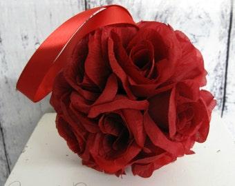 Red rose pomander,  Flower girl kissing ball,  Red wedding decorations, Flower girl rose bouquet, Rose ball pew hangers