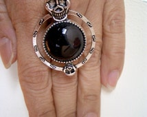 Genuine Black OBSIDIAN Large Round, SKULL Gothic Ring, Adjustable Size! Free Shipping in Aus!