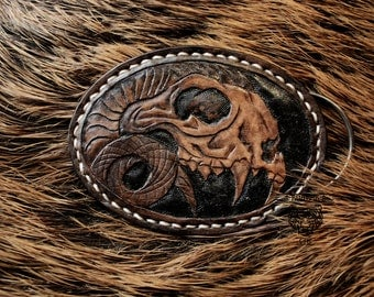 Leather Belt Buckle with Animal Skull