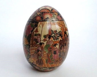 "8.25"" Tall Vintage Chinese Sasuma Hand Painted Porcelain Egg"