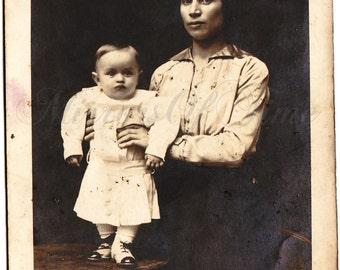 Vintage Photo - Family Portrait - Mother and son Photo - Vintage Snapshot - Polish Photo - Maternity Photo - 1930s Photo