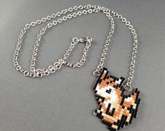 Furret Necklace - Pixel Necklace Pokemon Necklace Pixel Jewelry 8 bit Necklace Seed Bead Neklace Video Game Necklace Ferret Necklace