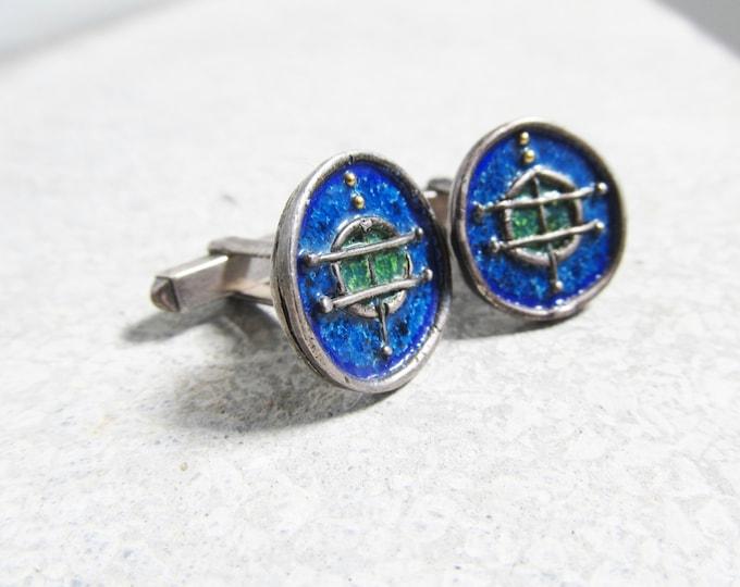 Blue Silver cufflinks, Vintage arts and crafts enamel cuff links, modernist cufflinks 925 sterling silver, handmade wedding cufflinks