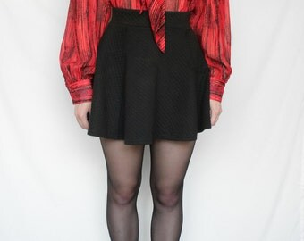 80s Vintage Decorated Patterned Red Button Up Summer Blouse for Women