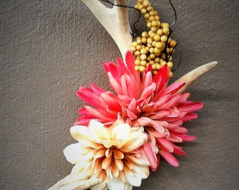 REAL Antler/Faux flower Wall Decor