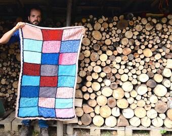 Colorful afghan, Crochet blacket, Vintage blacket, Handmade blanket, Baby blanket, Throw Blanket, Wool afghan, Patchwork blanket, Throw