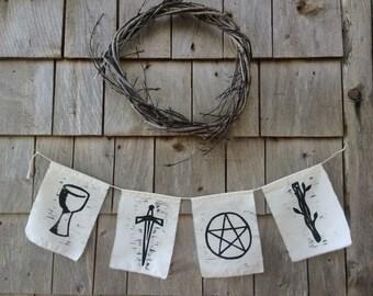 TAROT SUIT Original Woodcut Banner Flags - Cups Swords Pentacles Wands