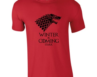 Winter is Coming Men's T-shirt, Available in 10 Colours, Game of Thrones, House Stark, TS1009