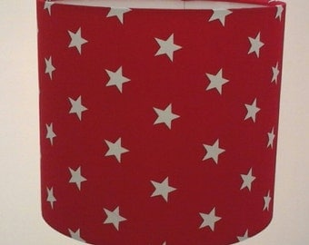 Red and White Star Drum Lampshade.