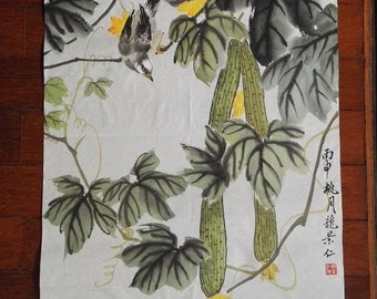 Traditional Chinese Painting, Original Painting,  Sponge Gourd, Bird, Ink & watercolor Painting, Study Decoration, Living Room, housewarming