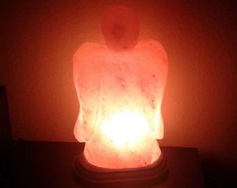 Personalized Reiki Charged Himalayan Salt Angel Lamp