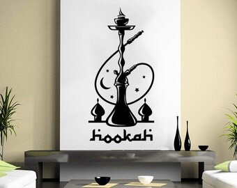 Hookah Wall Decal Relax Arabic Cafe Wall Decals Shisha Smoke Smoking Vinyl Stickers Home Decor Bedroom Design Interior NV34
