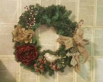 Christmas Vintage Bird Festive Door Wreath Wall Hanging 32