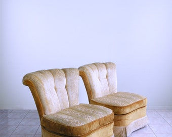 HOLLYWOOD REGENCY slipper chairs dorothy draper mid century tufted CHANNEL back chairs