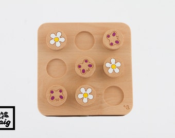 Puzzle three in a row for children. Perfect gift wooden toy.