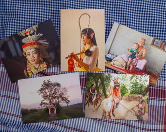 "5 limited edition - 5x7"" gift cards on Pearl Metallic heavy stock paper. Set 1 - from the book Dance Music Ritual in Manipur"